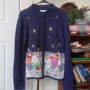 Dress Barn Full Zip Christmas Sweater!